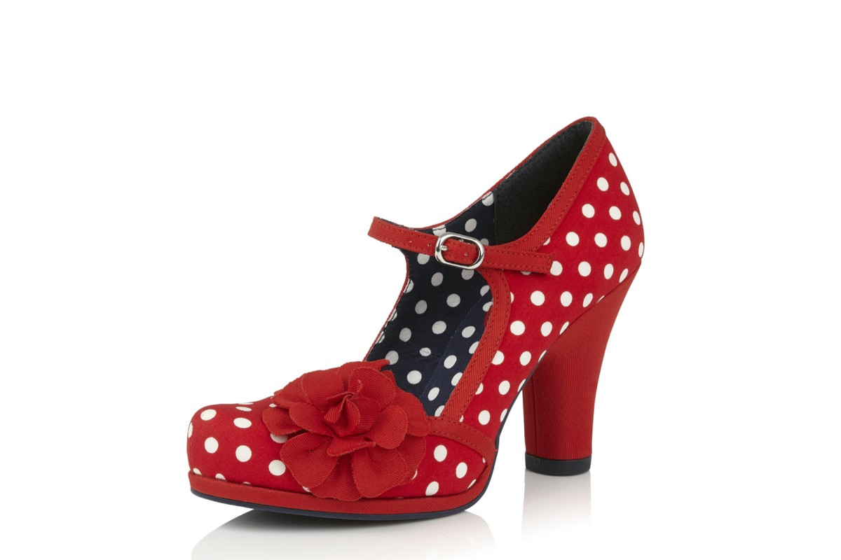 Ruby Shoo Hannah Red Spots Polka Dot High Heel Mary Jane Shoes