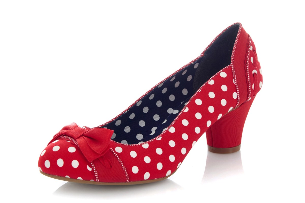 Ruby Shoo Hayley Red Spots Mid Heel Polka Dot Court Shoes