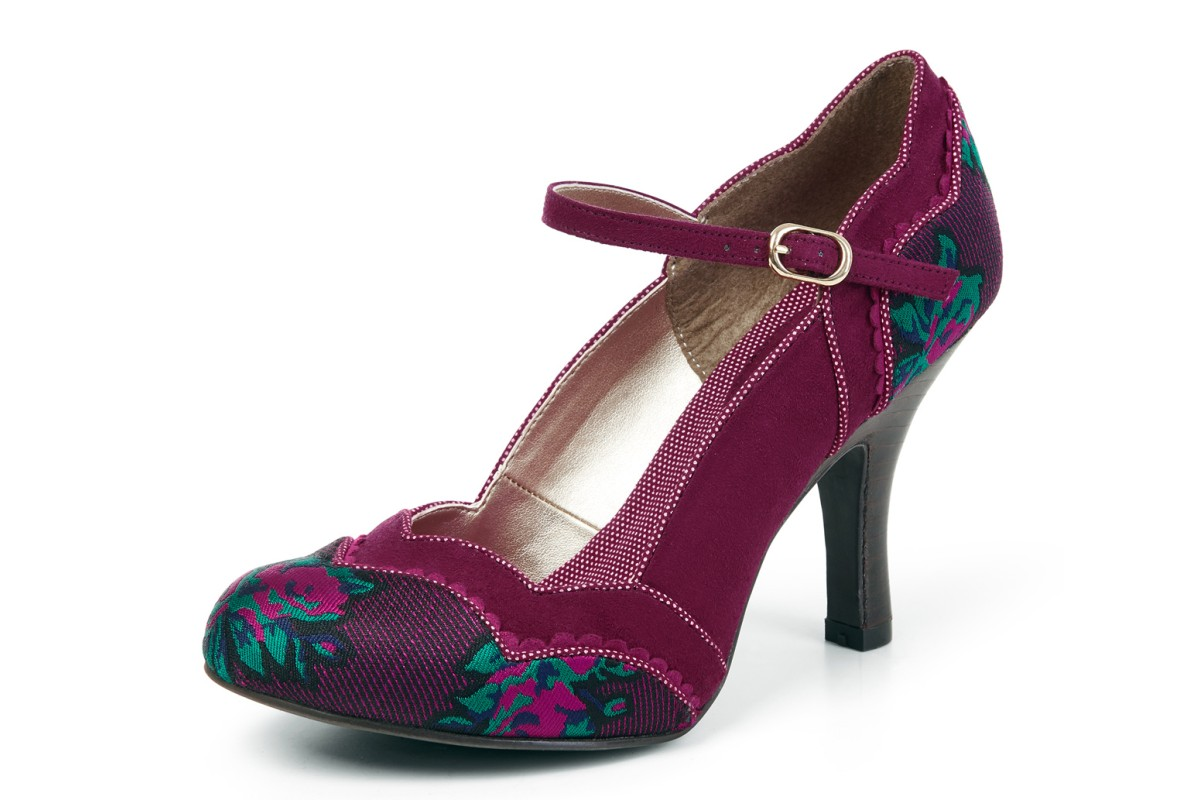 Ruby Shoo Imogen Plum Purple Floral Ankle Strap High Heel Shoes