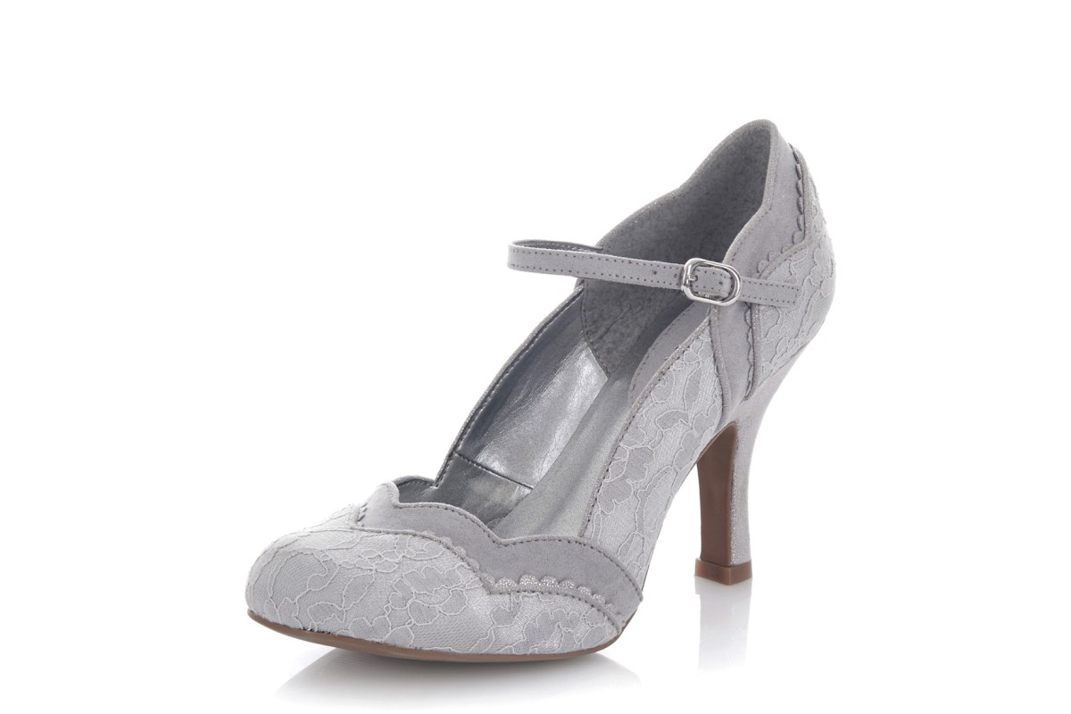 Ruby Shoo Imogen Silver Grey Lace High Heel Shoes - KissShoe 864992a1a