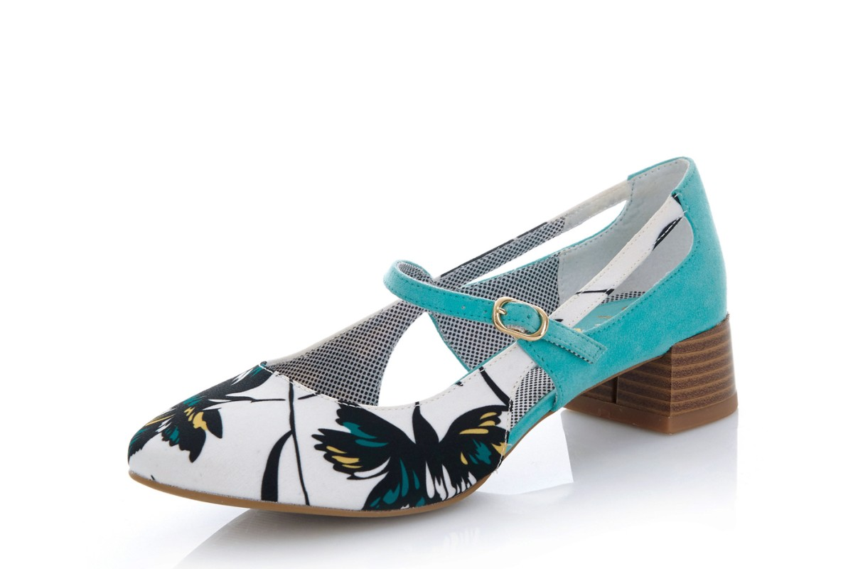 Ruby Shoo Iris Aqua Turquoise White Floral Low Heel Mary Jane Shoes