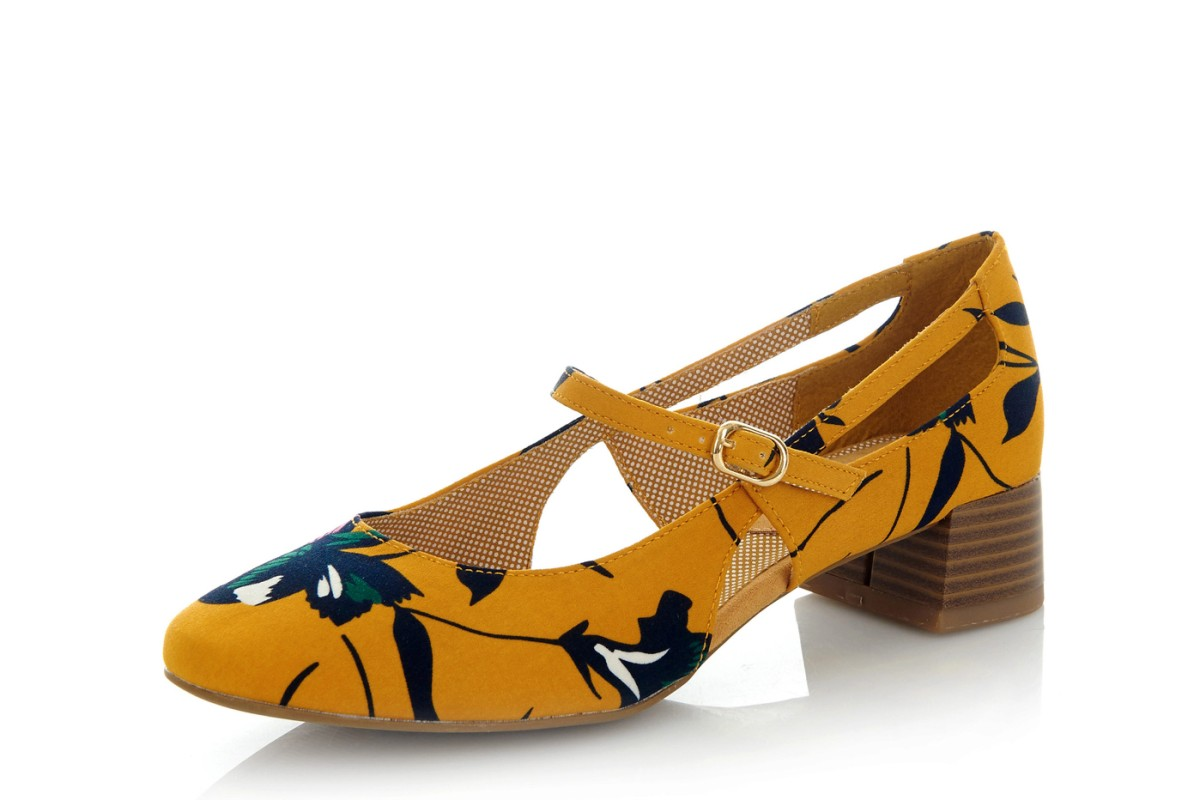 Ruby Shoo Iris Ochre Mustard Yellow Floral Low Heel Mary Jane Shoes