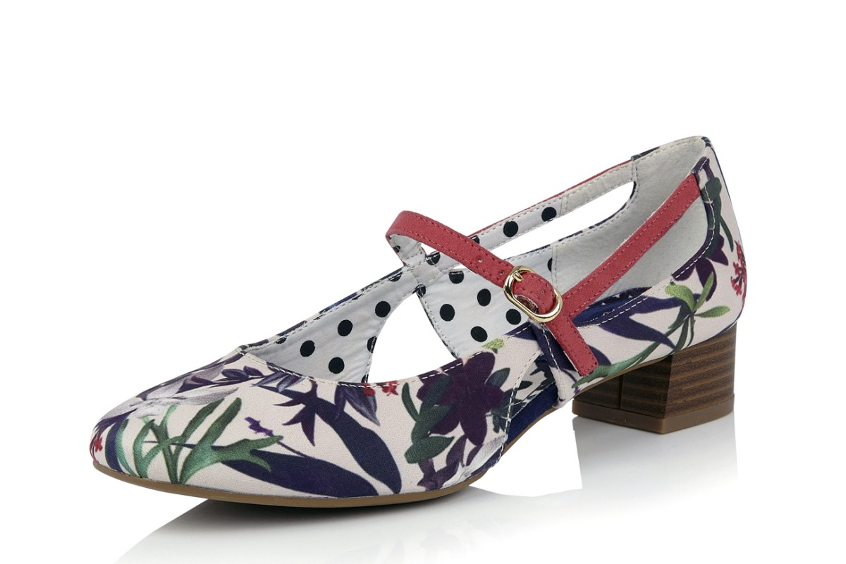 Ruby Shoo Iris Sage Green White Floral Low Heel Mary Jane Shoes