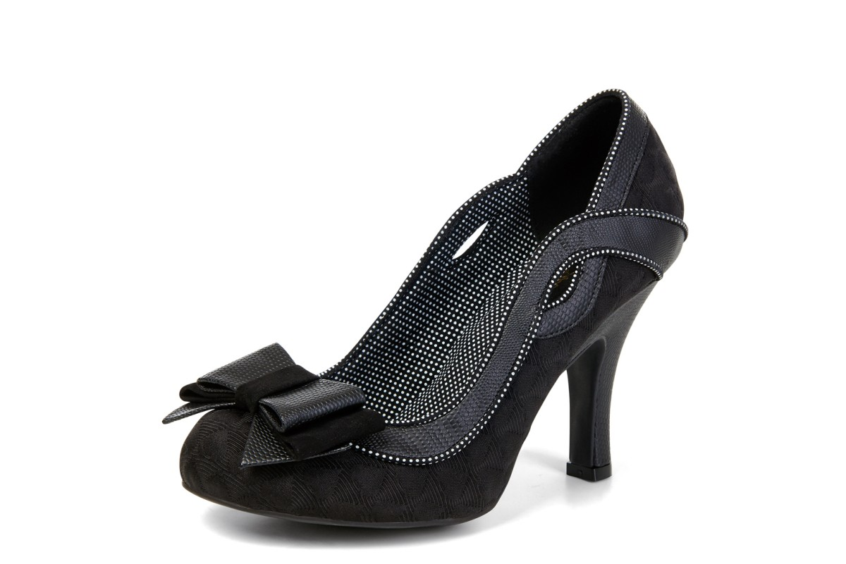 Ruby Shoo Ivy Noir Black Heart High Heel Court Shoes