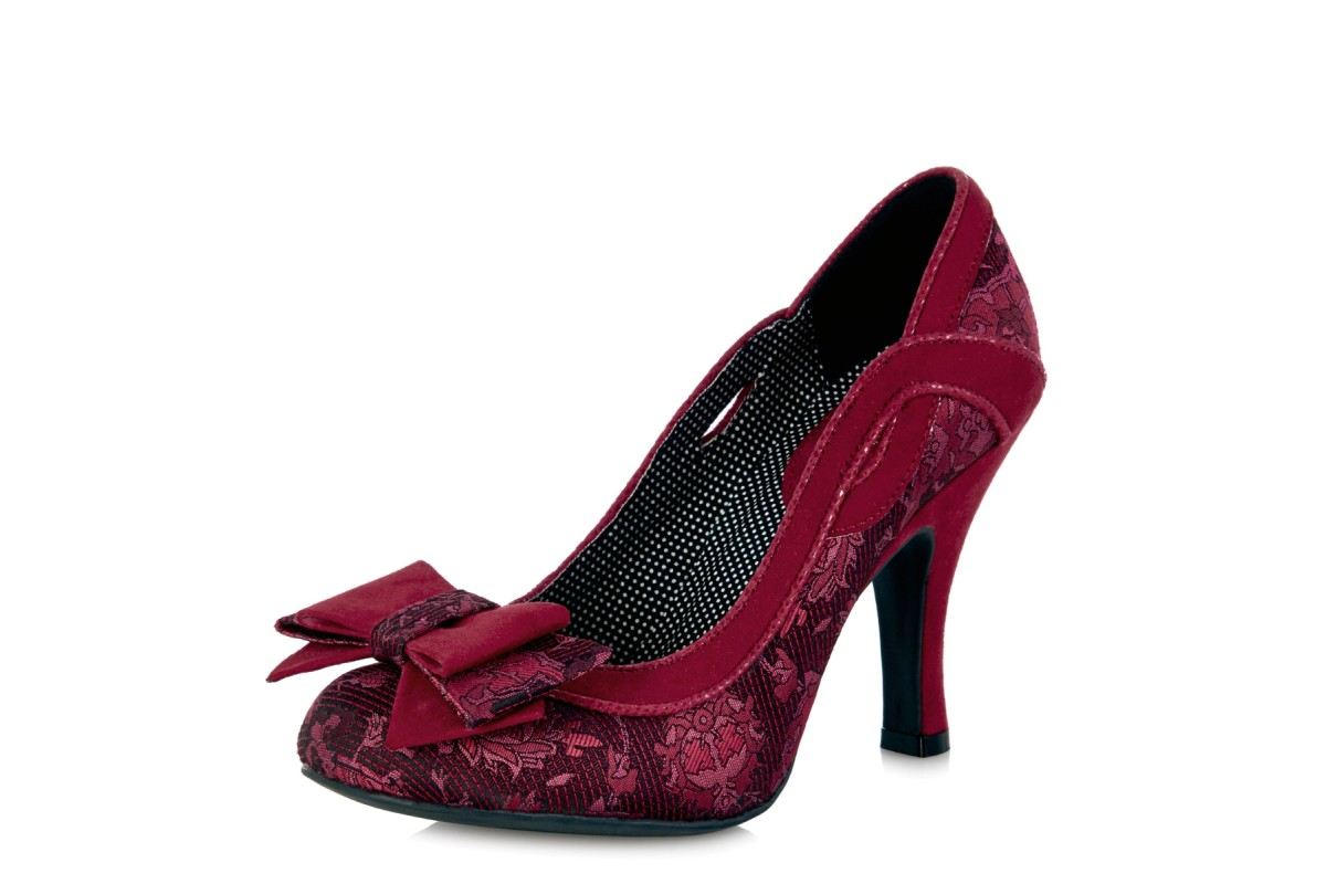 Ruby Shoo Ivy Red Jacquard High Heel Bow Court Shoes