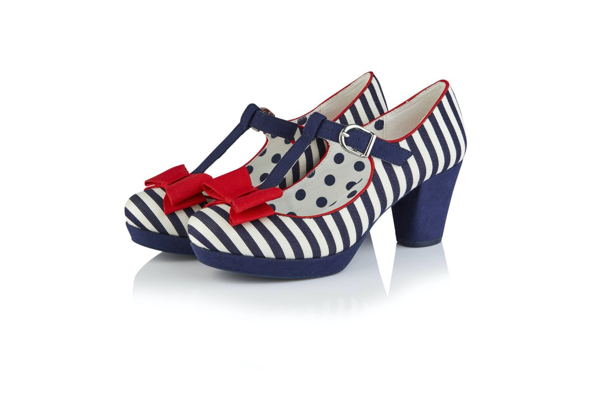 Ruby Shoo Jazz Navy Stripe Platform T Bar High Heel Shoes