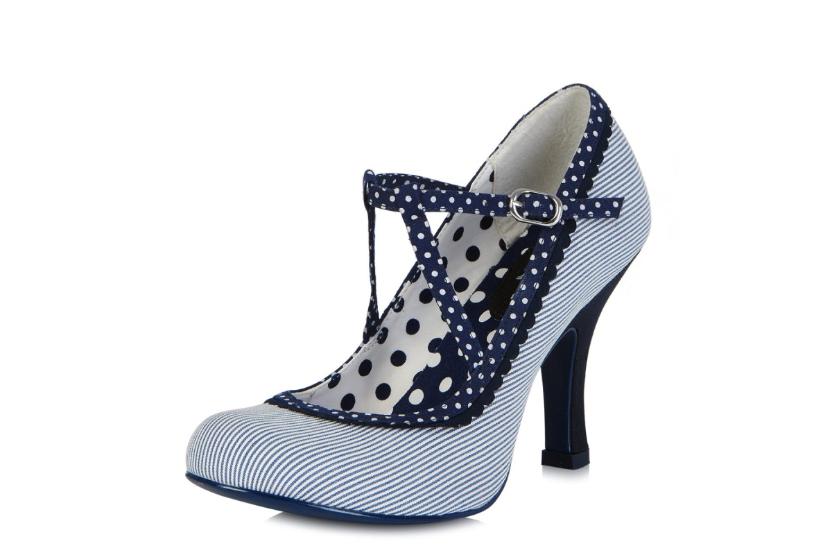 f1a26dbe5c2ada Ruby Shoo Jessica Blue Stripe Polka Dot High Heel Shoes - KissShoe