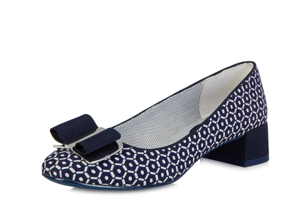bc28c88150f Ruby Shoo June Navy White Pattern Low Heel Bow Court Shoes - KissShoe
