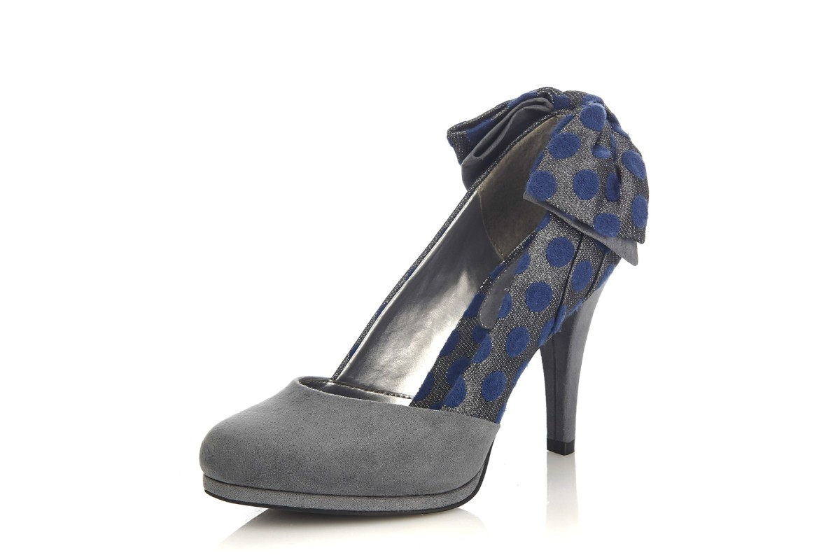 Ruby Shoo Katie Grey Silver Navy Polka Dot High Heel Bow Court Shoes
