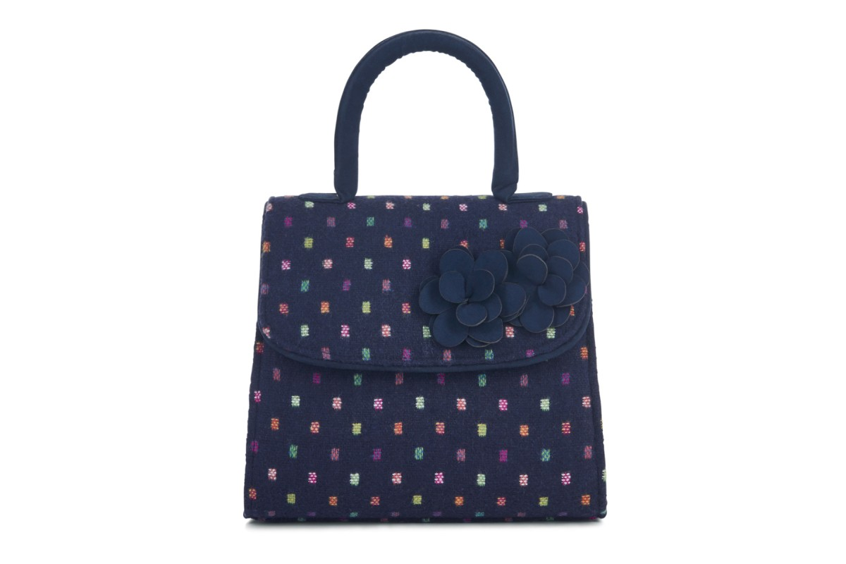 Ruby Shoo Kingston Navy Multi Tweed Top Handle Shoulder Bag