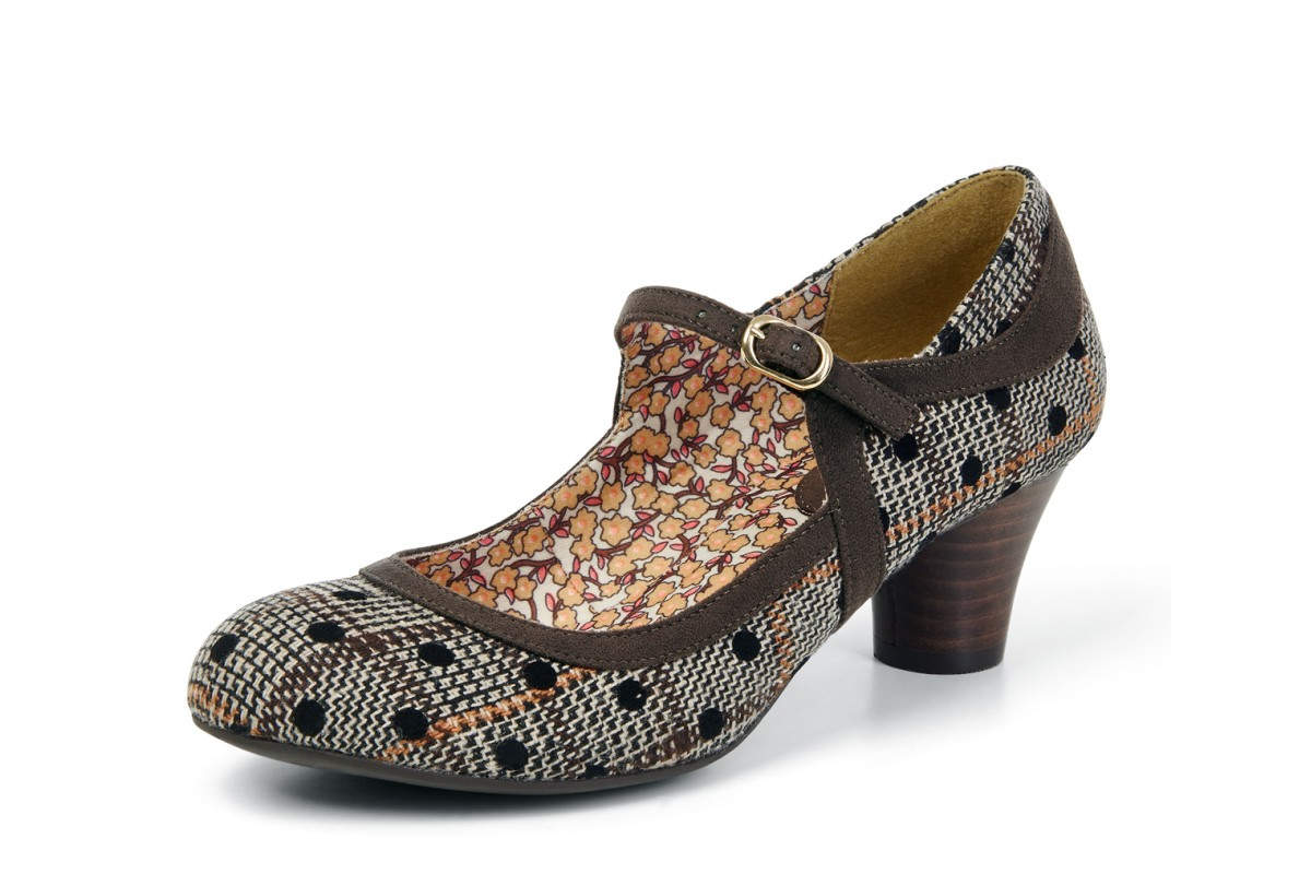 Ruby Shoo Lexi Brown Polka Dot Tweed Mary Jane Mid Heel Shoes