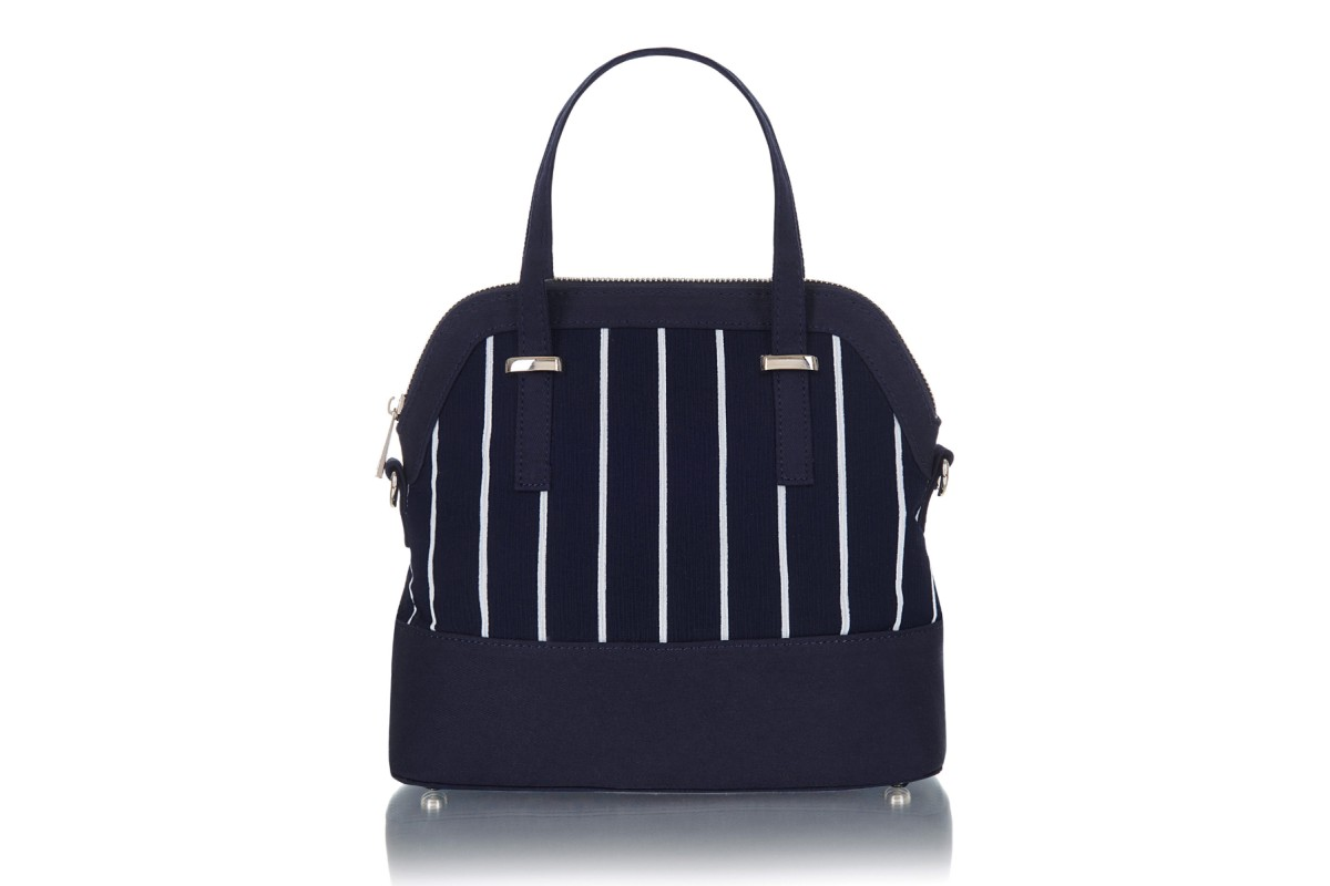 Ruby Shoo Lima Blue Navy White Stripe Top Handle Shoulder Bag