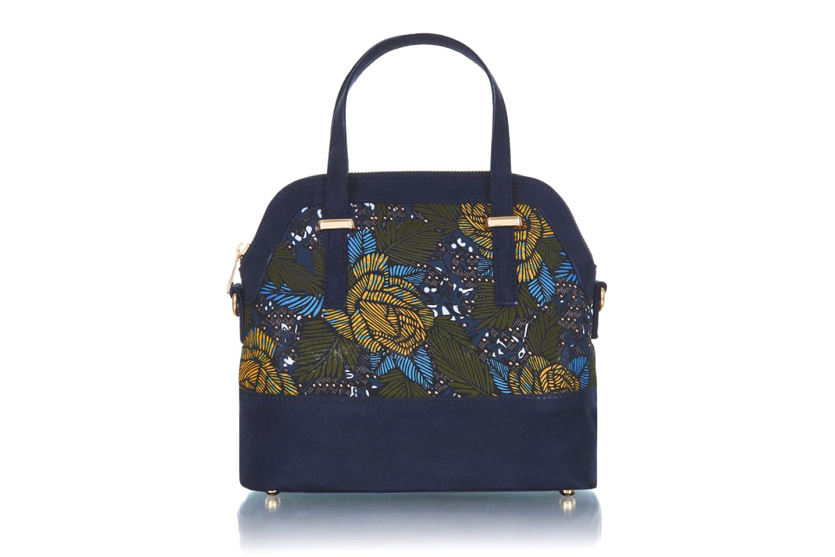 Ruby Shoo Lima Jungle Green Navy Floral Top Handle Shoulder Bag