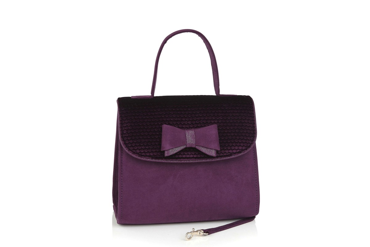 Ruby Shoo Lucca Purple Velvet Faux Suede Top Handle Shoulder Bag