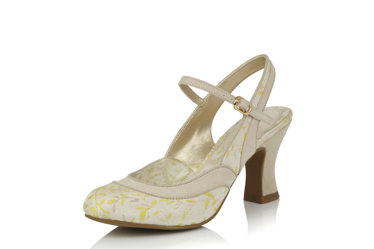 Ruby Shoo Lucia Cream Lemon Mary Jane Sling Back High Heel Shoes