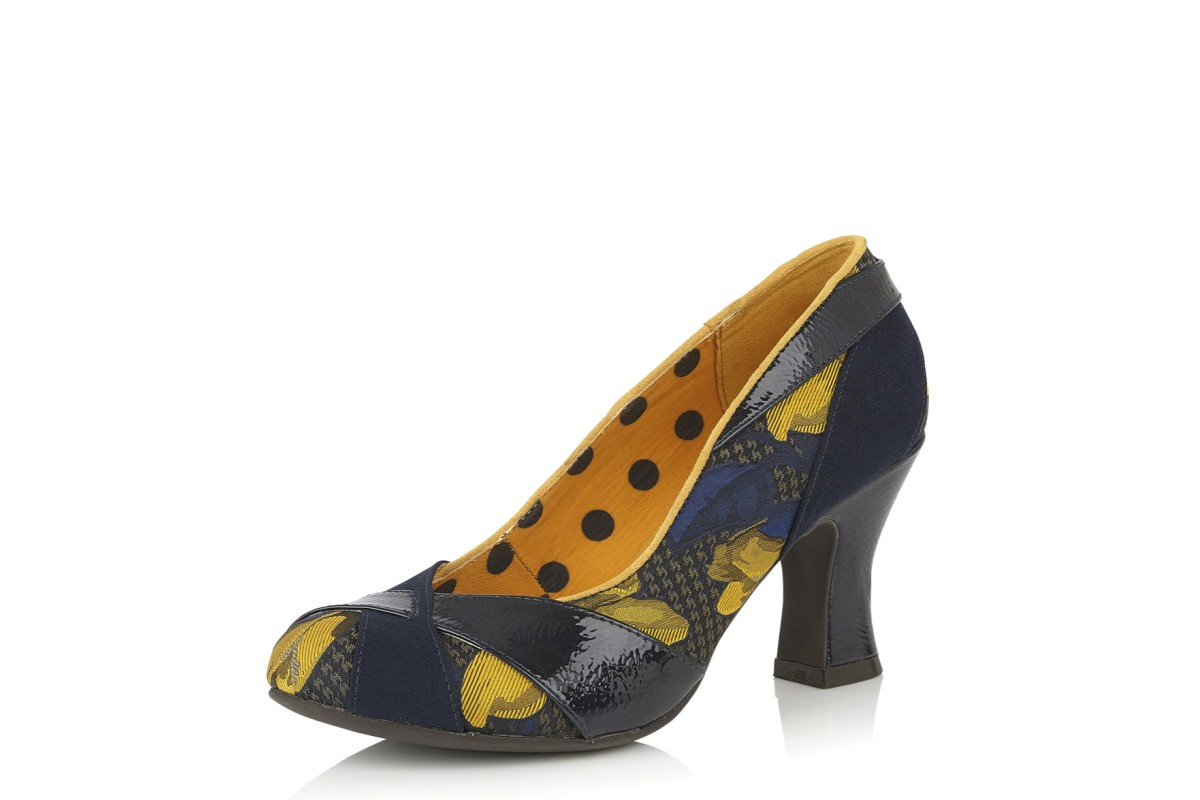 Ruby Shoo Lulu Navy Mustard Floral High Heel Court Shoes