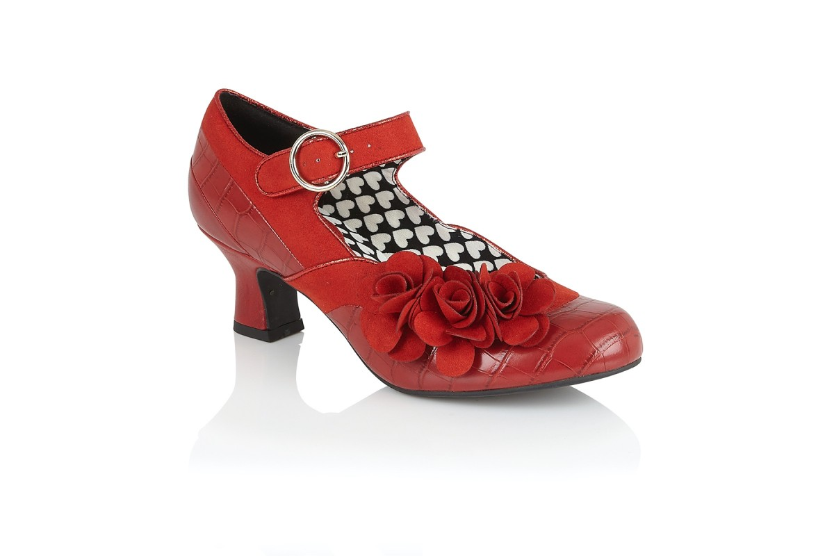 Ruby Shoo Mabel Red Faux Croc Mid Heel Mary Jane Shoes