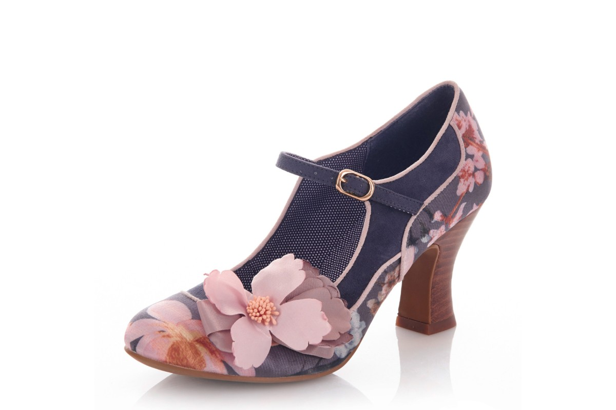 Ruby Shoo Madelaine Slate Grey Pink Floral High Heel Mary Jane Shoes