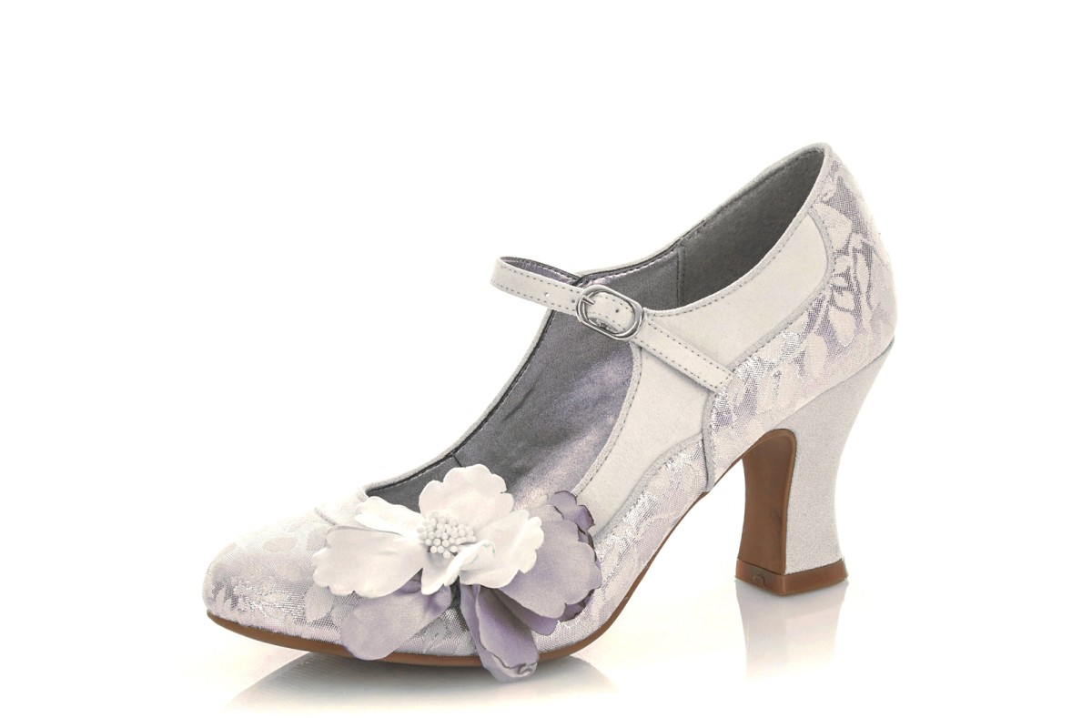 Ruby Shoo Madelaine White Silver Floral High Heel Mary Jane Bridal Shoes