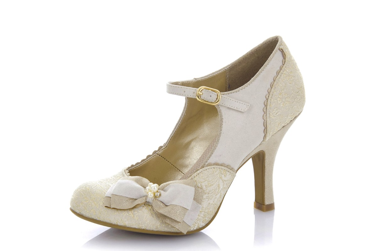 Ruby Shoo Maria Cream Gold High Heel Mary Jane Shoes