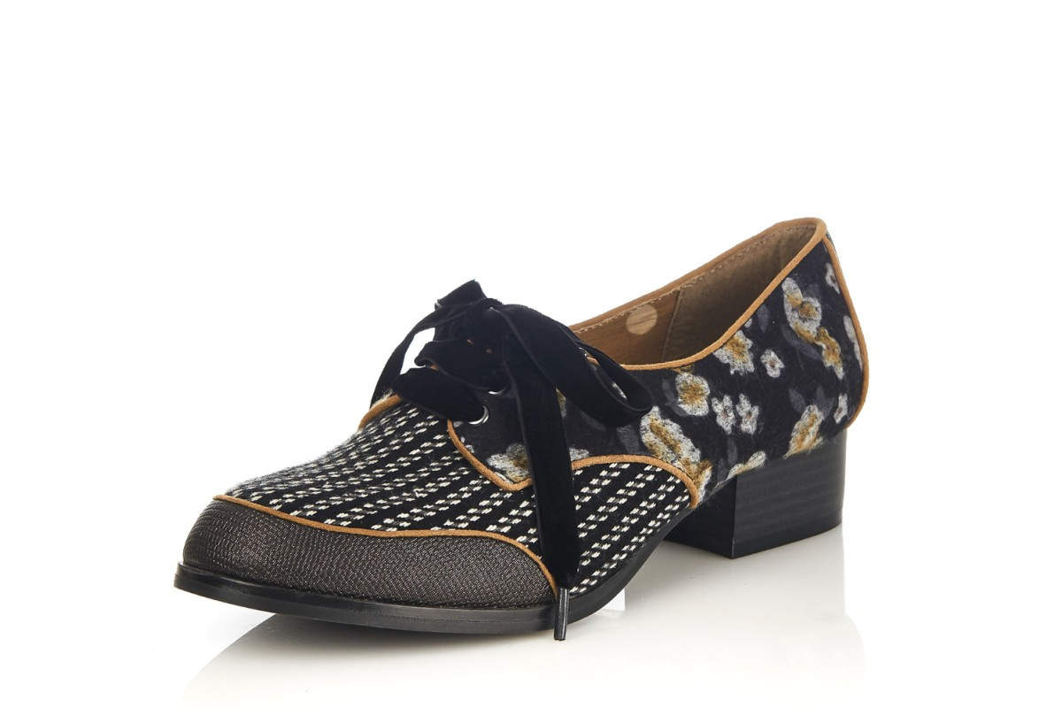 Ruby Shoo Micah Floral Black Tweed Floral Mid Heel Lace Up Shoes