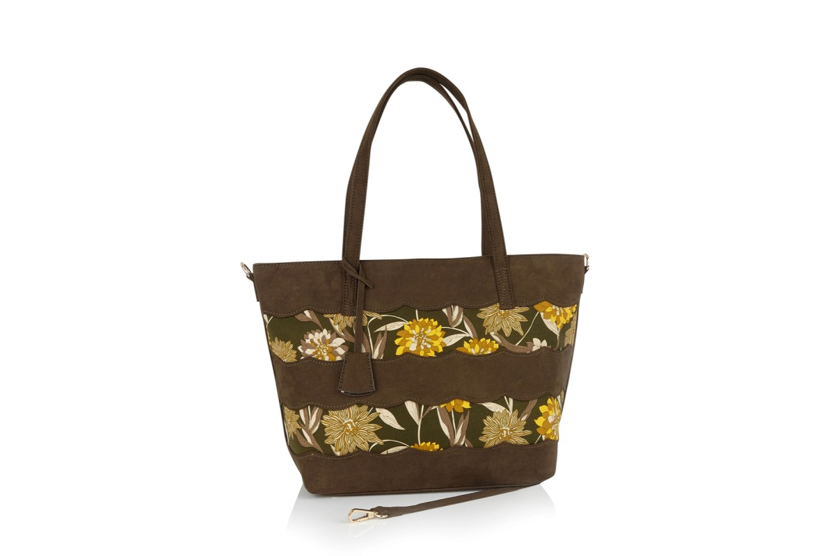 Ruby Shoo Mijas Olive Green Brown Floral Tote Shopper Bag