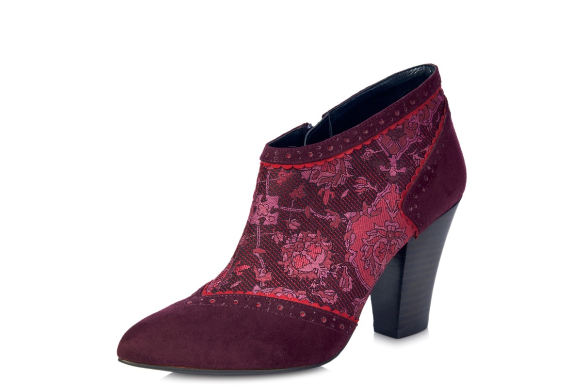 Ruby Shoo Nicola Wine Floral High Heel Ankle Shoe Boots