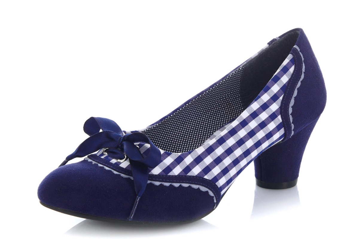 Ruby Shoo Ophelia Blue Check Mid Heel Court Shoes