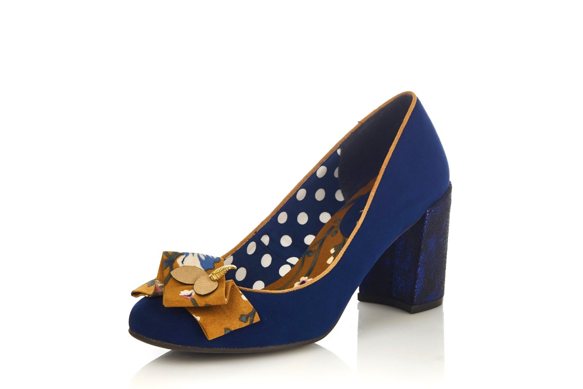 Ruby Shoo Pandora Navy Blue Ochre Block High Heel Court Shoes
