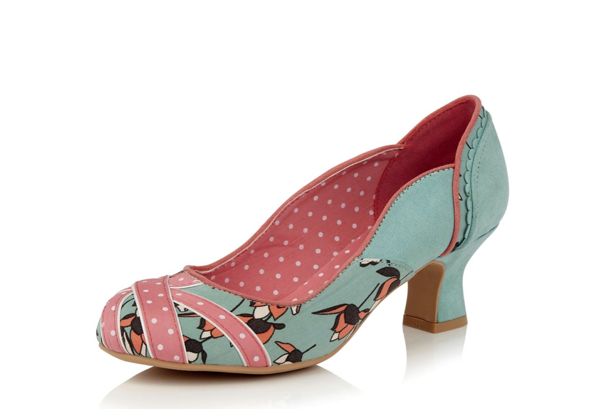 Ruby Shoo Paula Mint Coral Floral Union Jack Mid Heel Court Shoes
