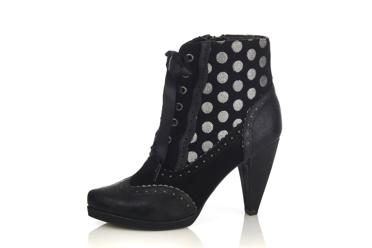 Ruby Shoo Peri Noir Black Silver Polka Dot Lace Up High Heel Ankle Boots