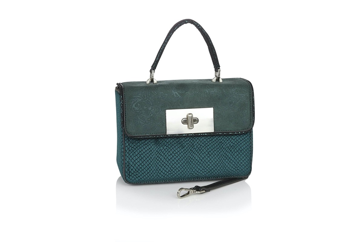 Ruby Shoo Perugia Green Velvet Top Handle Shoulder Box Bag