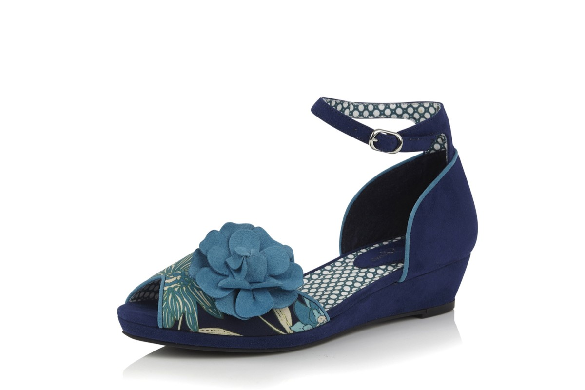Ruby Shoo Phyllis Blue Navy Floral Ankle Strap Wedge Heel Shoes