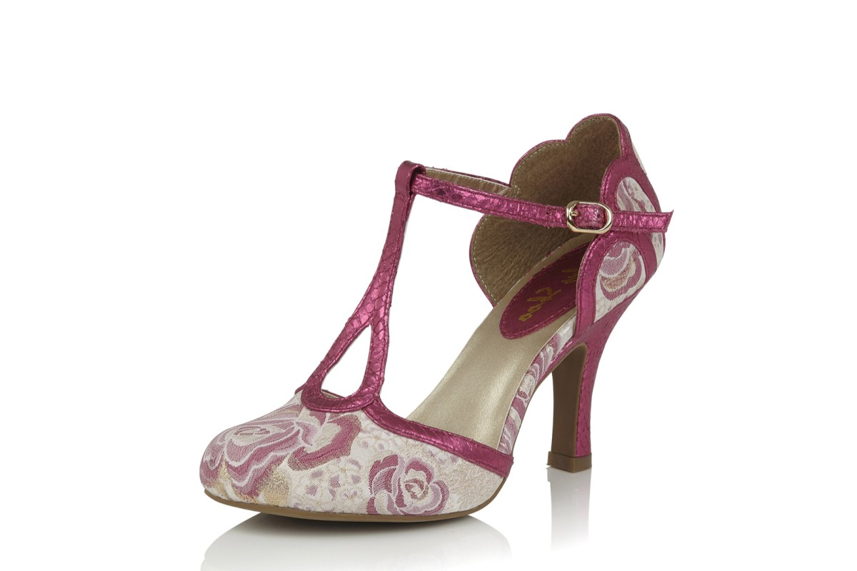 Ruby Shoo Polly Fuchsia Pink Floral High Heel T Bar Shoes