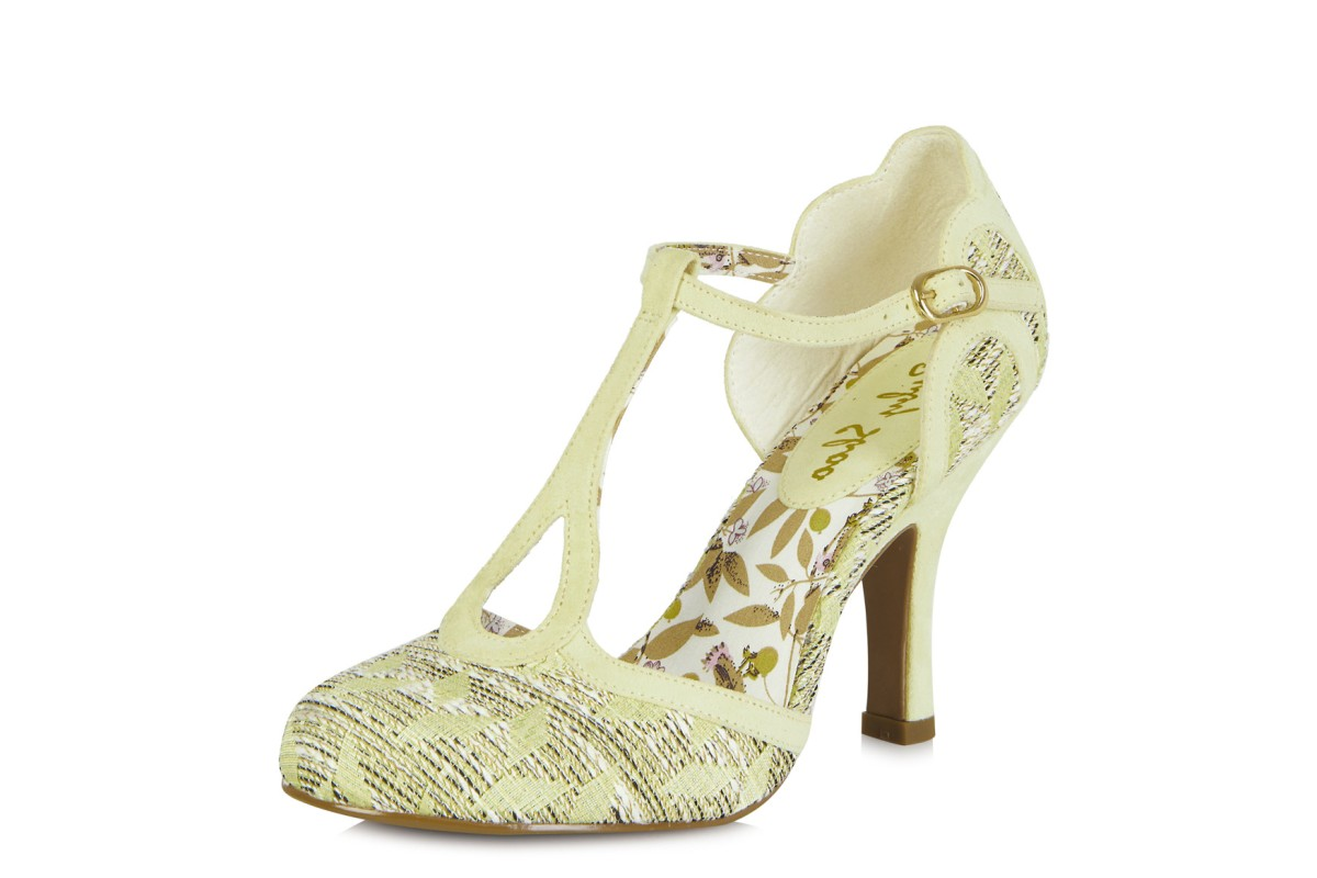 Ruby Shoo Polly Lemon Yellow High Heel T Bar Sandals
