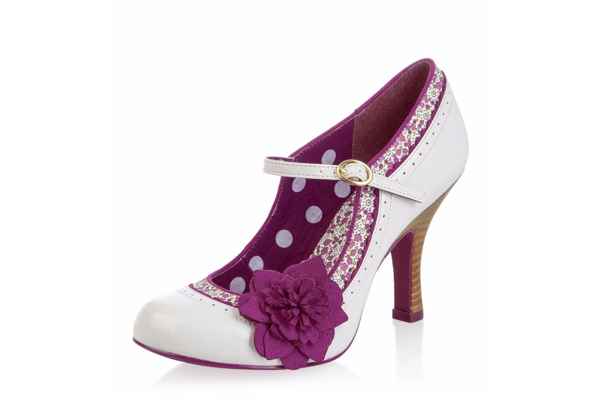 Ruby Shoo Poppy Ivory Purple Floral Mary Jane High Heel Shoes