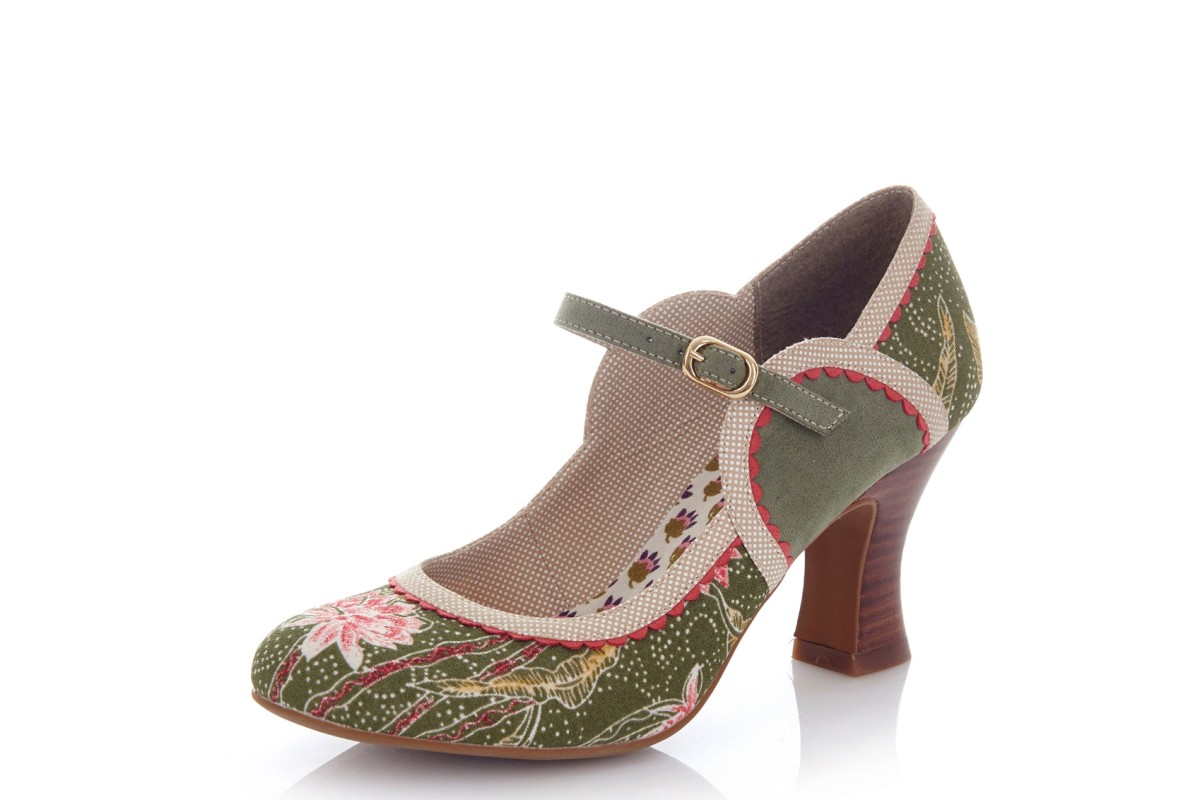 Ruby Shoo Rosalind Avocado Green Floral High Heel Mary Jane Shoes