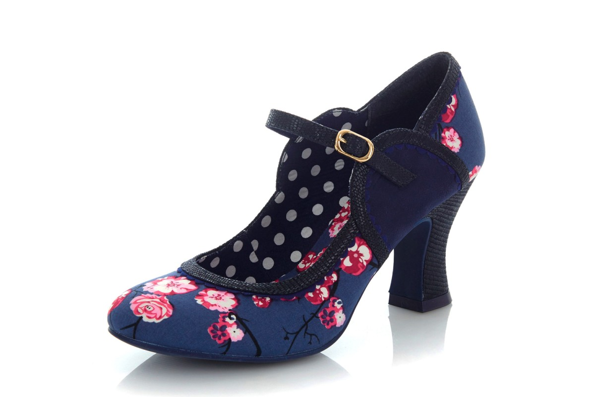 Ruby Shoo Rosalind Blue Navy Pink Floral High Heel Mary Jane Shoes