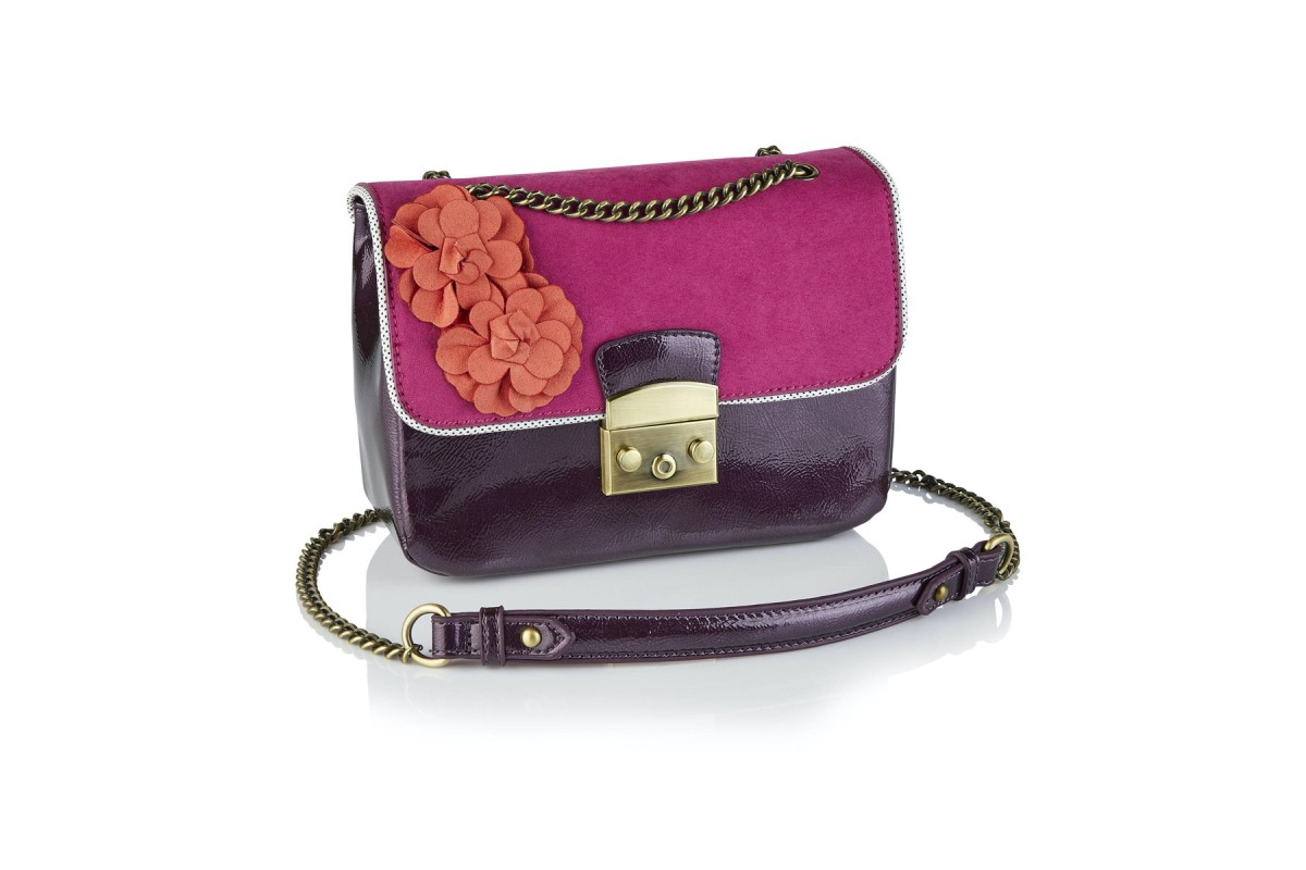 Ruby Shoo Salvador Purple Patent Faux Suede Flower Shoulder Bag