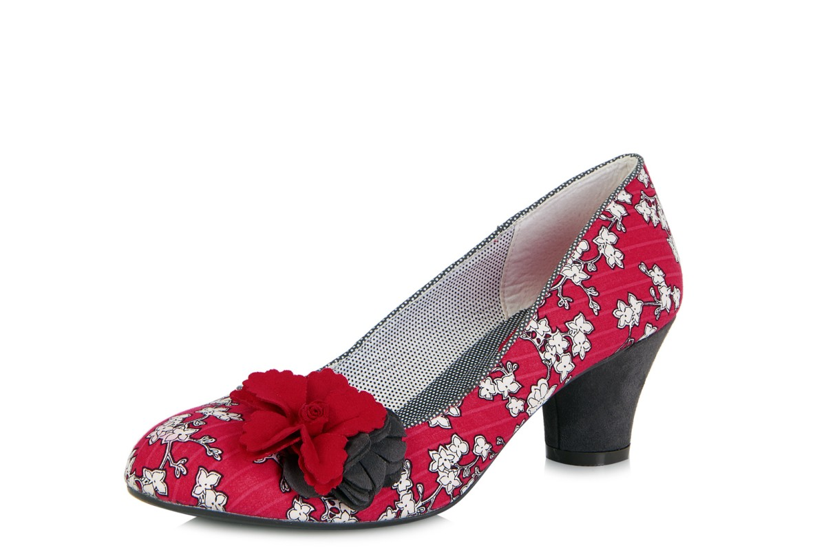 Ruby Shoo Samira Red Charcoal Floral Low Heel Flower Court Shoes
