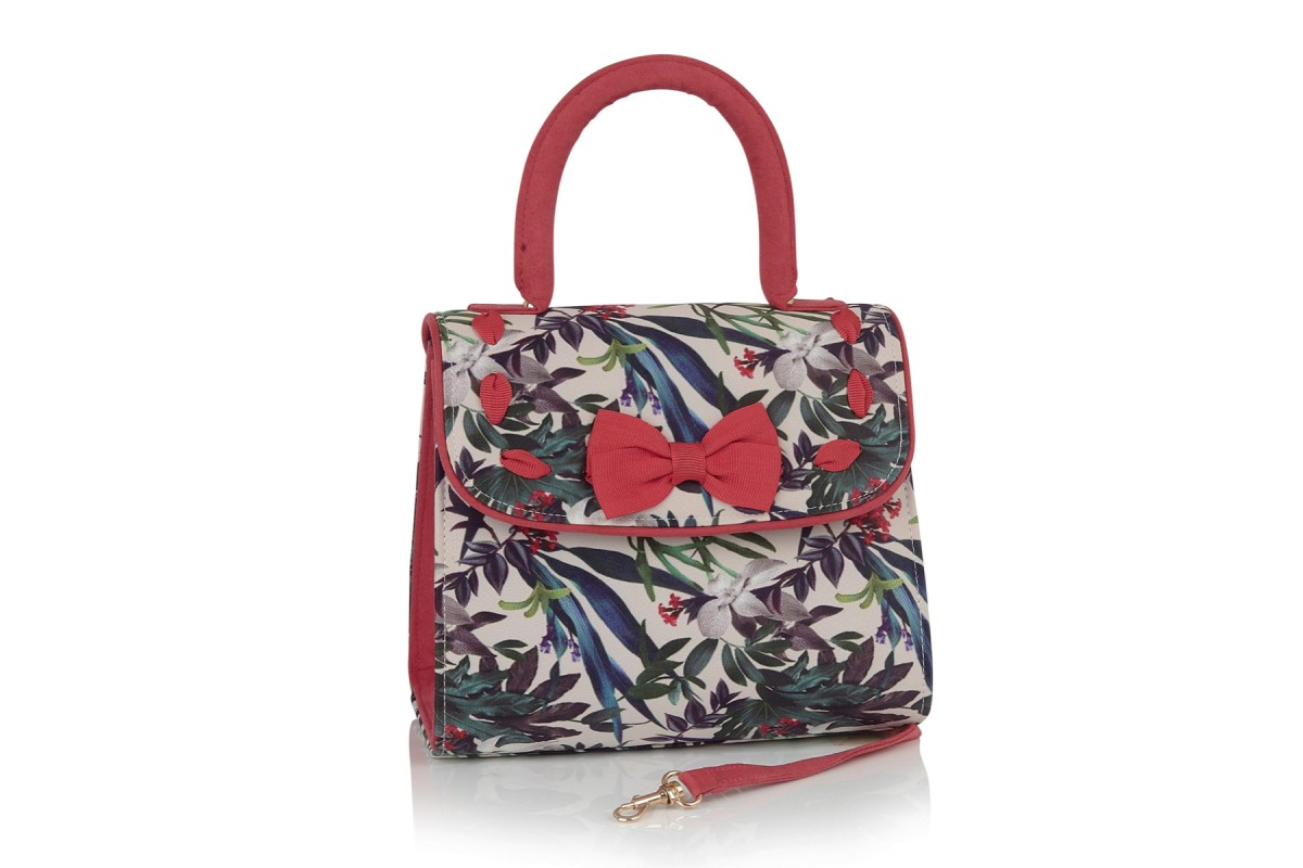 Ruby Shoo Santiago Sage Coral Floral Top Handle Shoulder  Bag