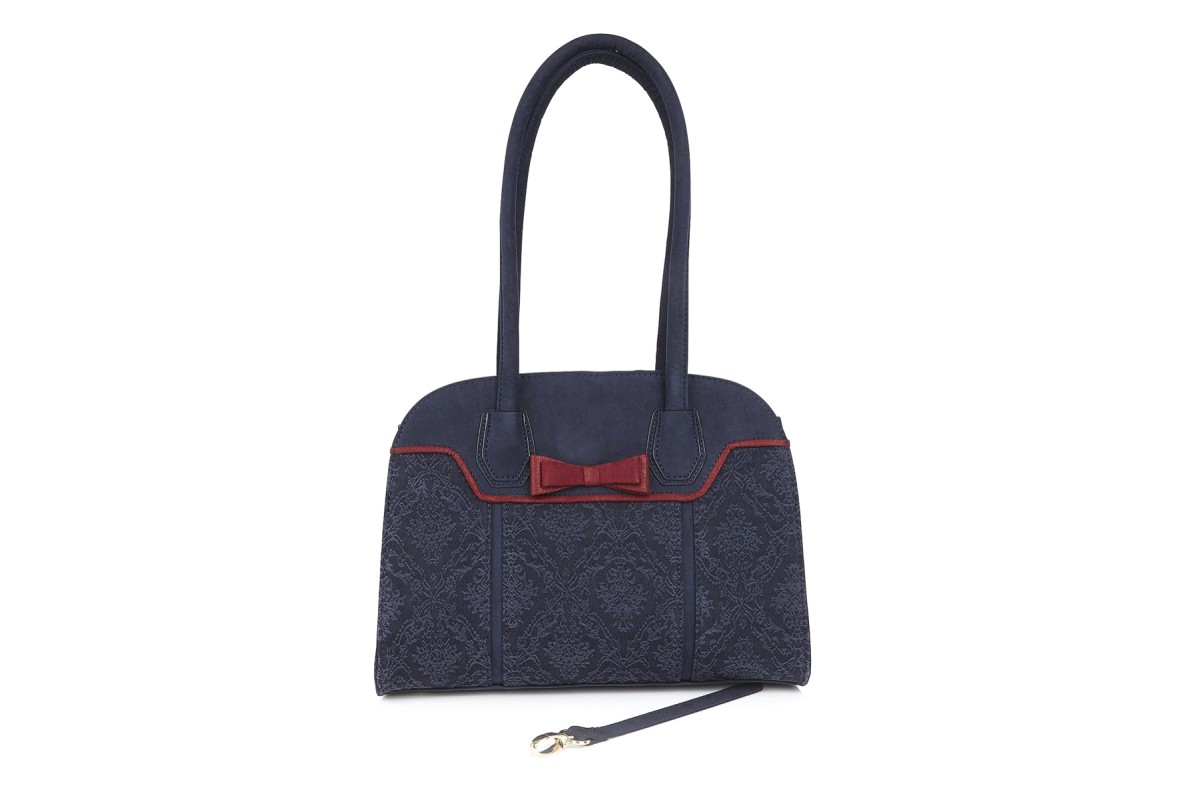 Ruby Shoo Siena Navy Bordeaux Jacquard Faux Suede Shoulder Bag