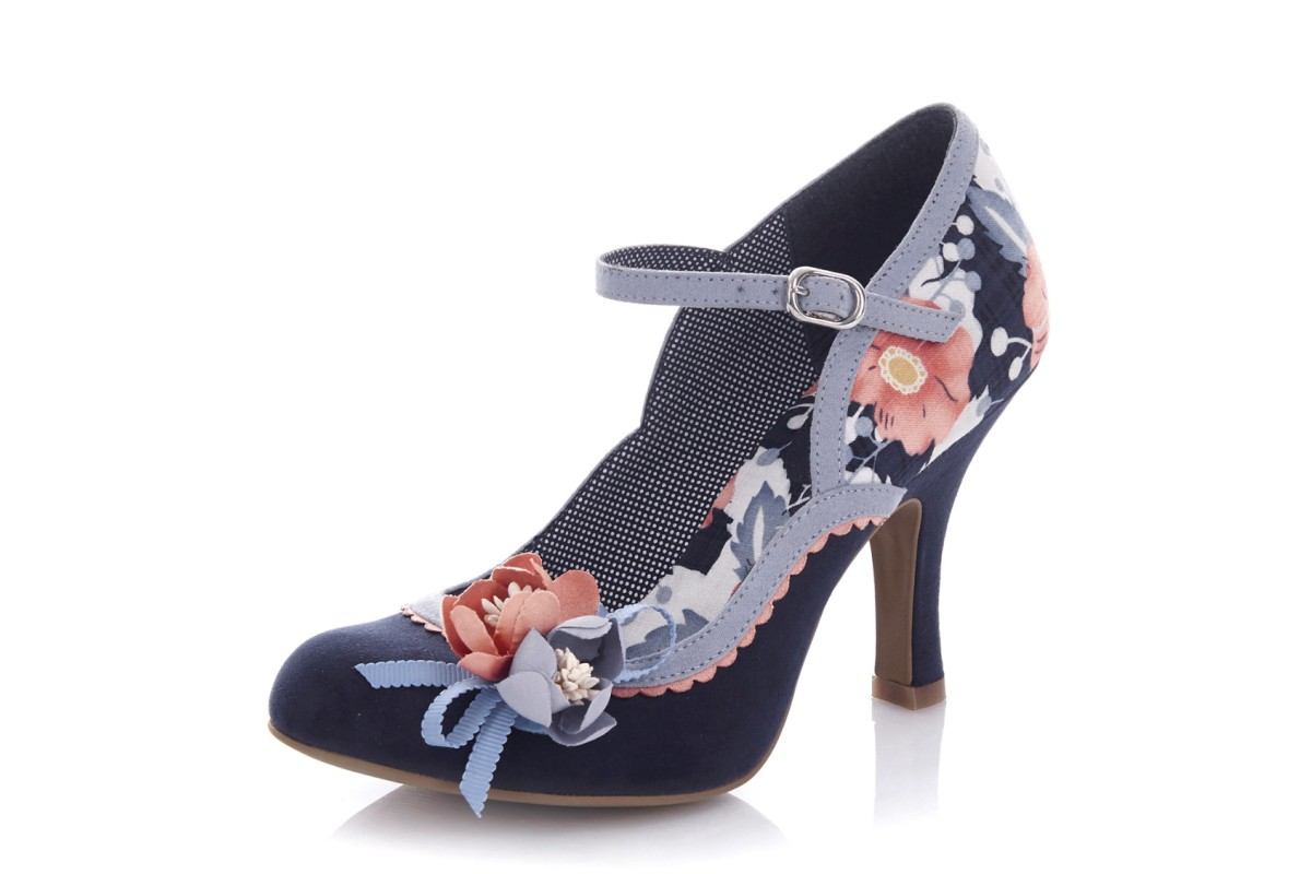 Ruby Shoo Silvia Navy Blue Floral High Heel Mary Jane Flower Shoes