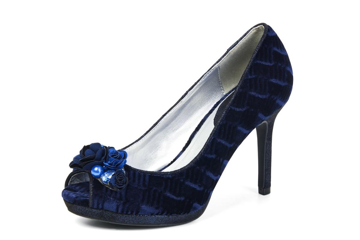 Ruby Shoo Sonia Midnight Blue Velvet High Heel Peep Toe Shoes ...