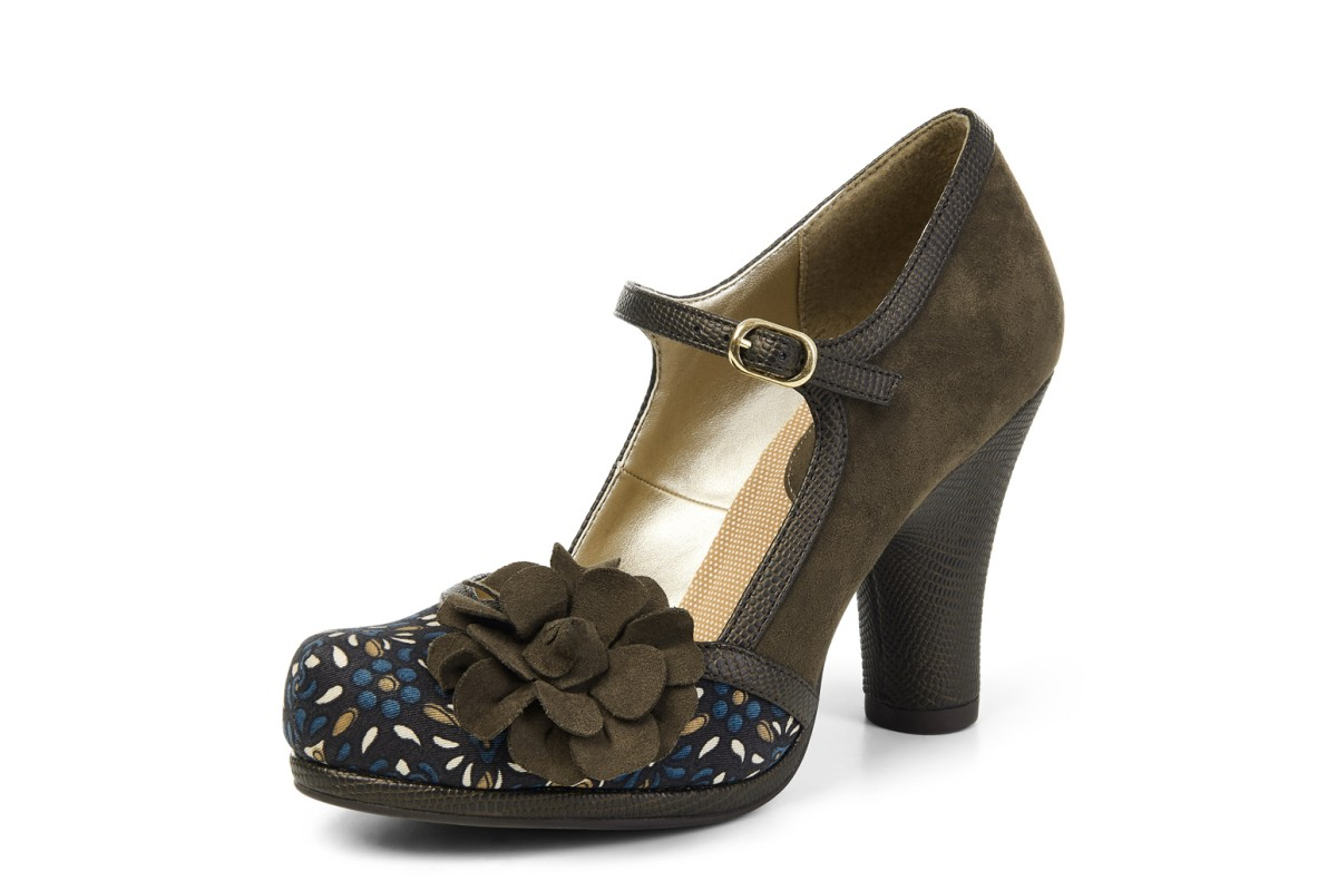 Ruby Shoo Hannah Olive Floral High Heel Mary Jane Shoes