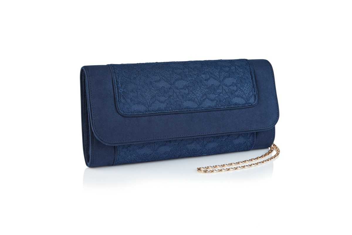 Ruby Shoo Tirana Navy Floral Lace Clutch Shoulder Bag