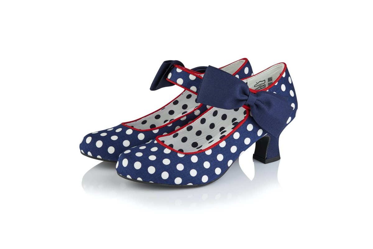 Ruby Shoo Trixie Navy Spots Ankle Strap Polka Dot Low Heel Shoes