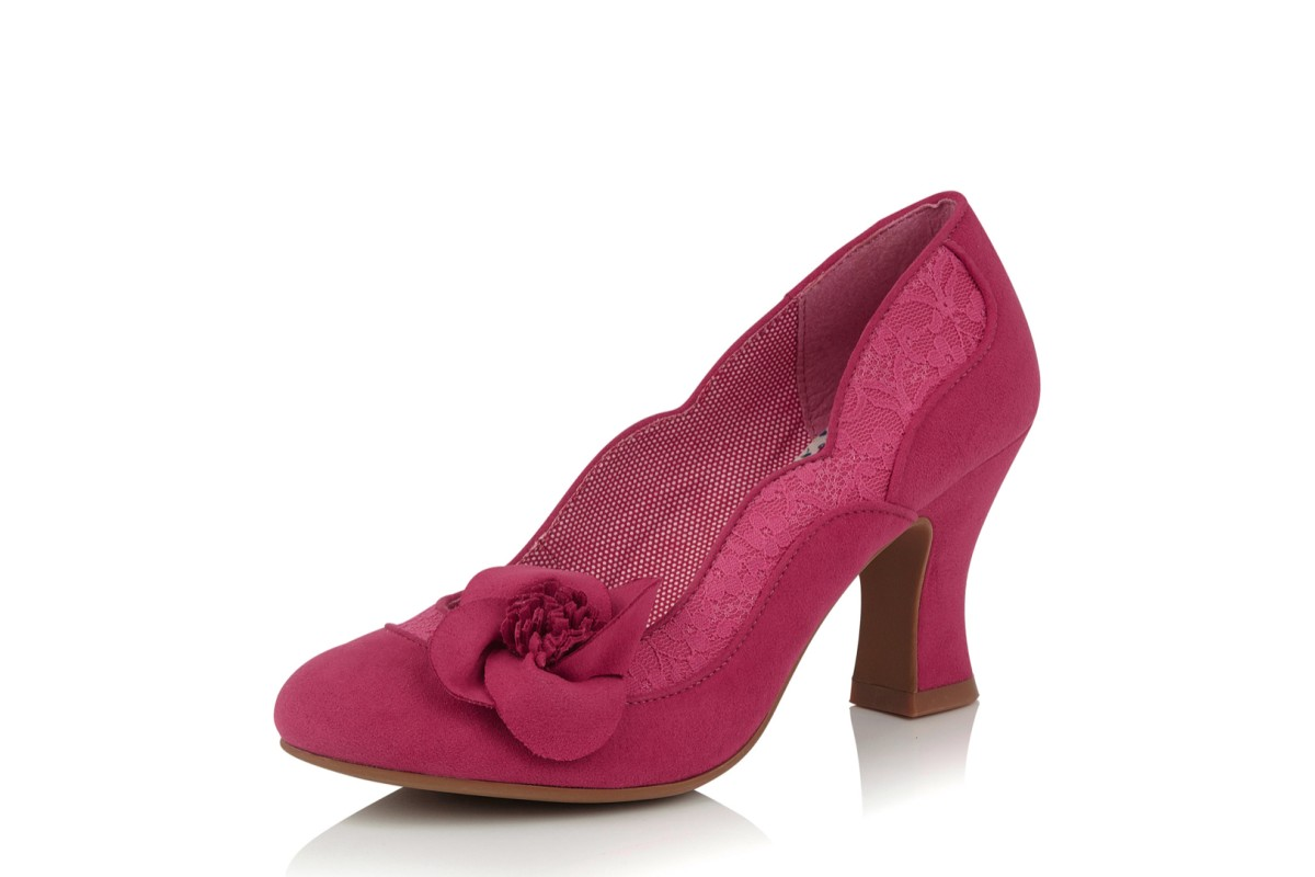 Ruby Shoo Veronica Fuchsia Pink Lace High Heel Court Shoes