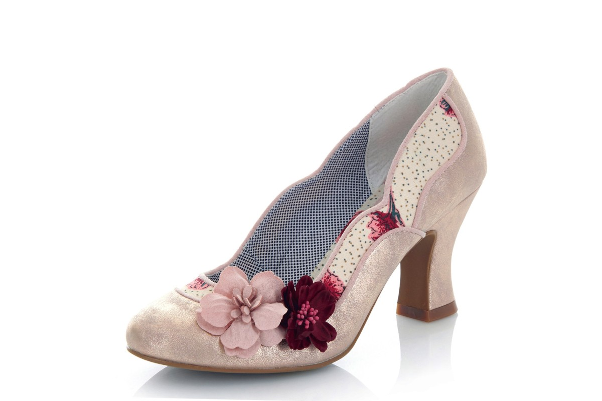 Ruby Shoo Viola Champagne Gold Pink Flower High Heel Court Shoes
