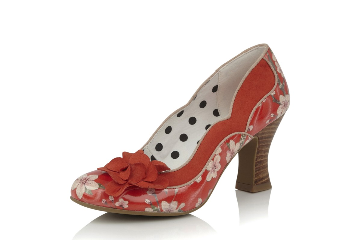 Ruby Shoo Viola Coral Orange Floral High Heel Court Shoes